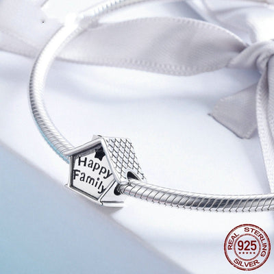 Happy Family Time, Home Charm, 925 Silver, White Enamel