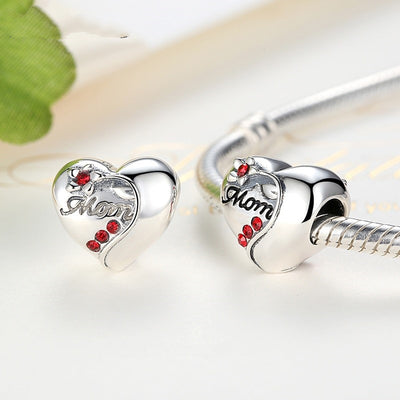 Mom Heart Charm, 925 Silver with Red CZ