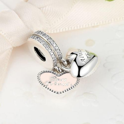 Best Friends Always There, Hearts Dangle Charm, 925 Silver, CZ with Pink Enamel