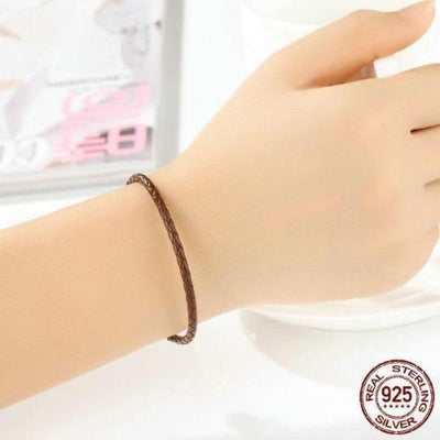 SINGLE BRAIDED LEATHER with 925 Sterling Silver Clasp BRACELET - Coffee/BROWN