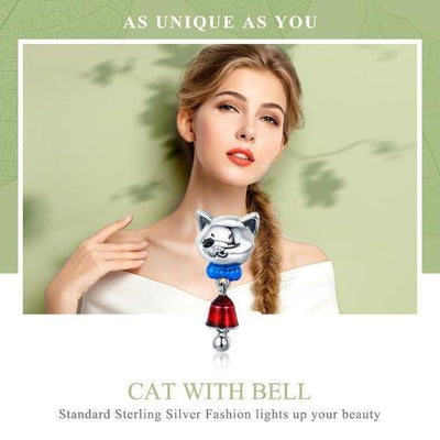 Cat with Bell Dangle Charm, 925 Silver with Blue Enamel