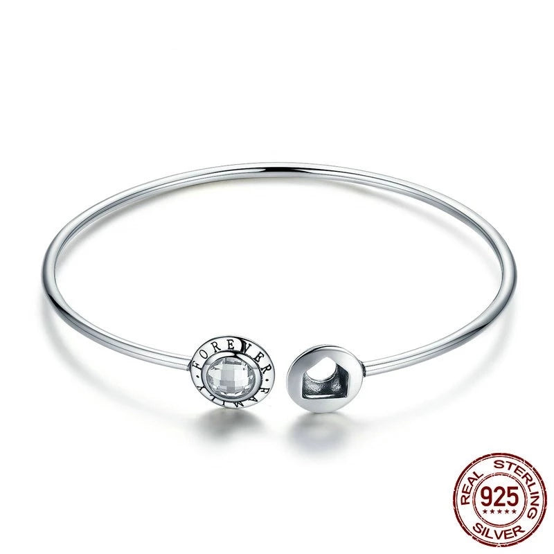 Open Bangle, Forever Family Bracelet, 925 Silver, CZ