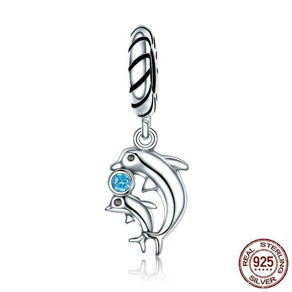 Silver Dolphins Tales Dangle charm, 925 Silver, Blue CZ