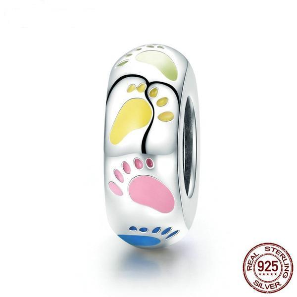 Footprint Charm, 925 Silver, Colorful Enamel