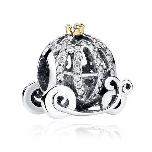 Cinderella's Pumpkin Coach charm, 925 Silver with clear CZ