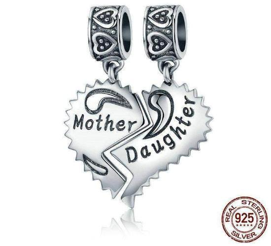"""Mother & Daughter"" Heart Forever Dangle Charm, 925 Silver"
