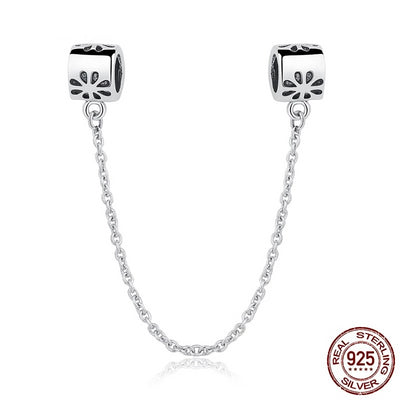 Silver Daisy Safety Chain, 925 Sterling Silver