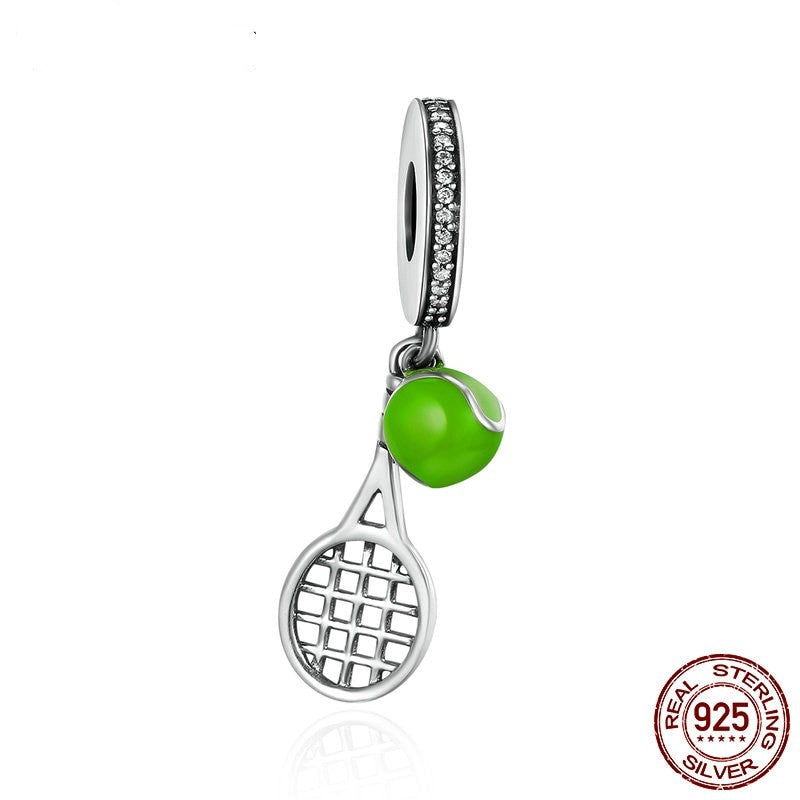 Tennis Racket Charm, 925 Silver with Green Enamel