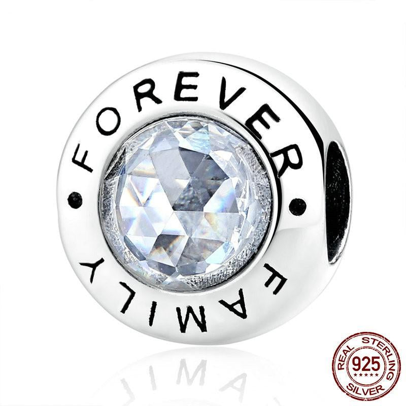 Family Forever CHARM, 925 Silver with CLEAR CZ