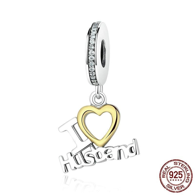 """I LOVE Husband"" Dangle Charm, 925 Silver"