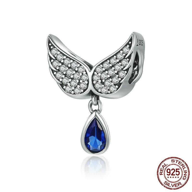 Silver Angel Wings Feather Dangle Charm, 925 Silver with CZ
