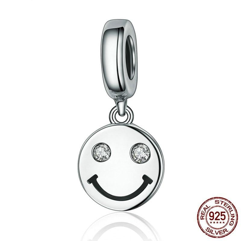 Smiling Face Of Life Dangle Charm, 925 Silver, CZ Eyes