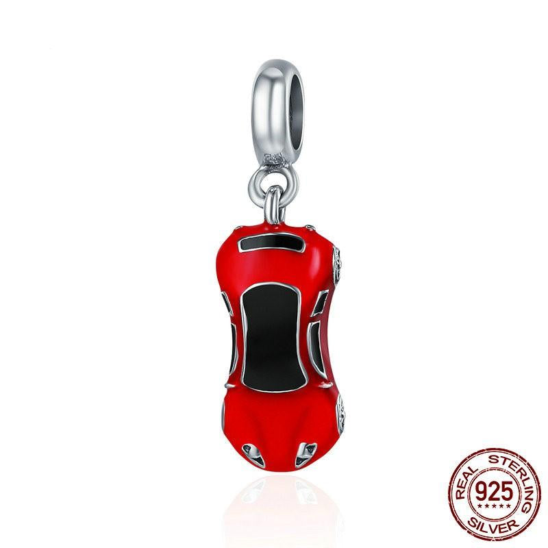 Sports Car Dangle Charm, 925 Silver, Red Enamel