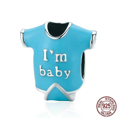 Cute I'm Baby' Shirt Charm, 925 Silver with Blue Enamel