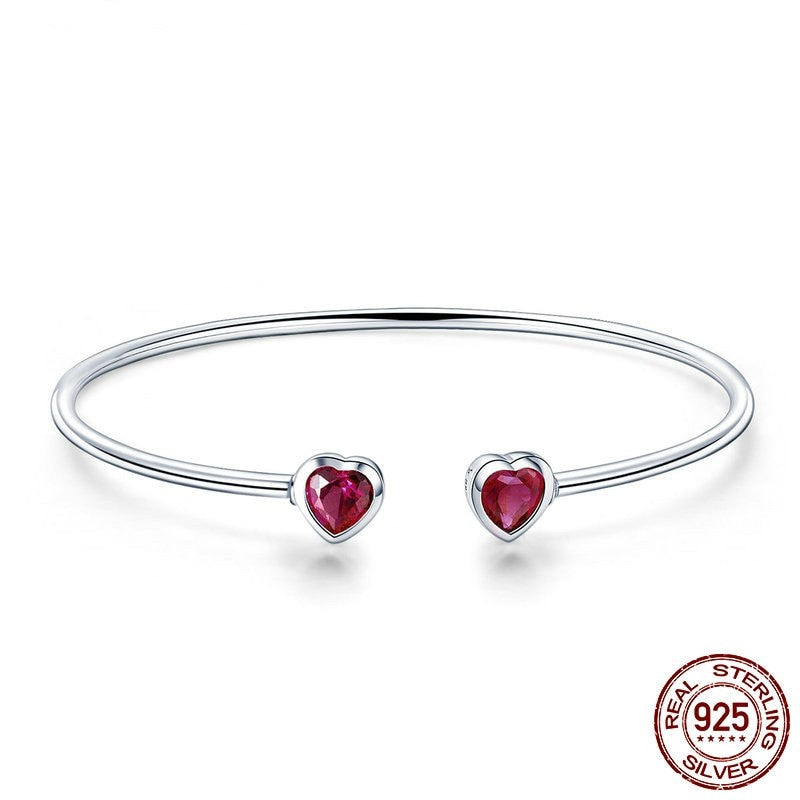 Double Heart Open Bangle, 925 Silver, CZ