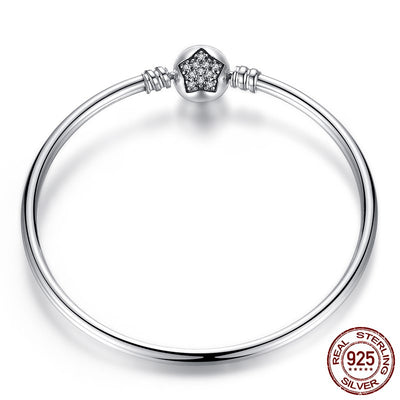 Bangle, Star Clasp with clear CZ, Charm Bracelet, 925 Silver
