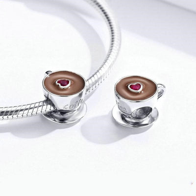 Heart Coffee Cup Beads, 925 Silver Charm with CZ and Enamel