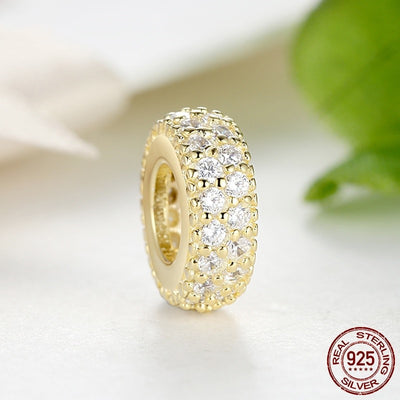 'Inspiration Within' Spacer Gold Color Charm, 925 Silver, with CZ