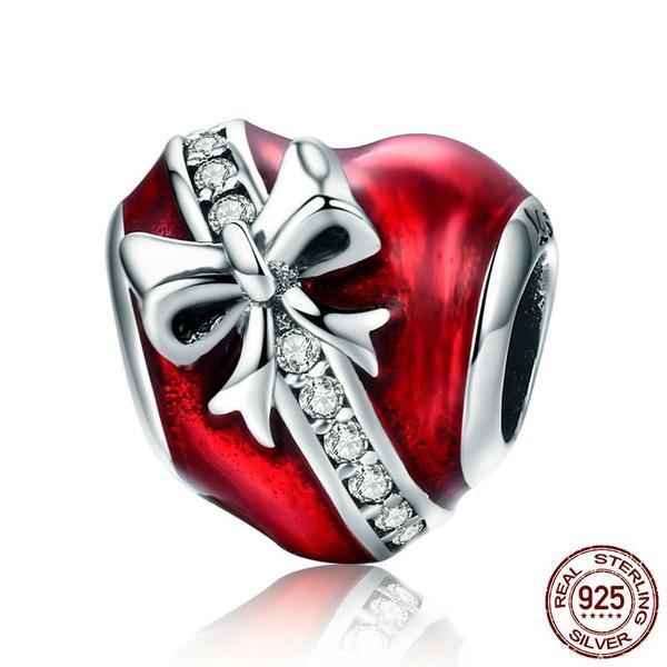 Gift of my Heart Charm, 925 Silver, with clear CZ