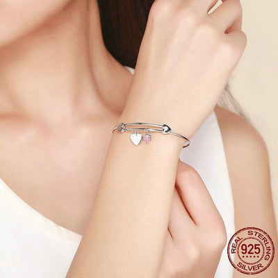'I love you to infinity and beyond' Heart Bangle Bracelet, 925 Sterling Silver, CZ