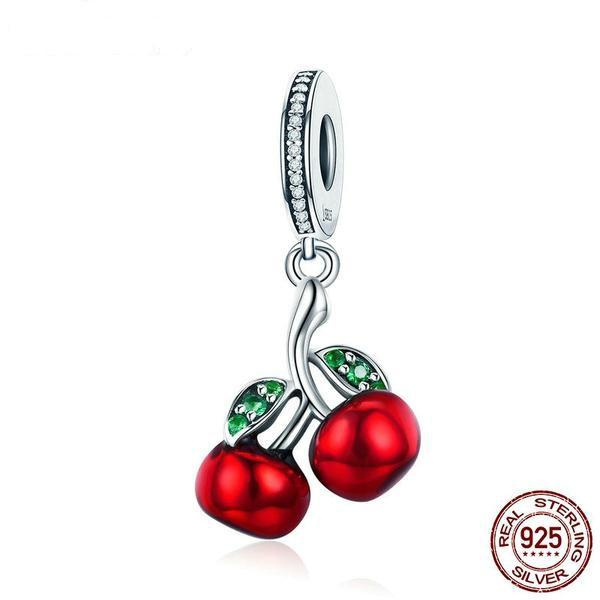 Red Cherry Dangle Charm, 925 Silver, CZ, Enamel