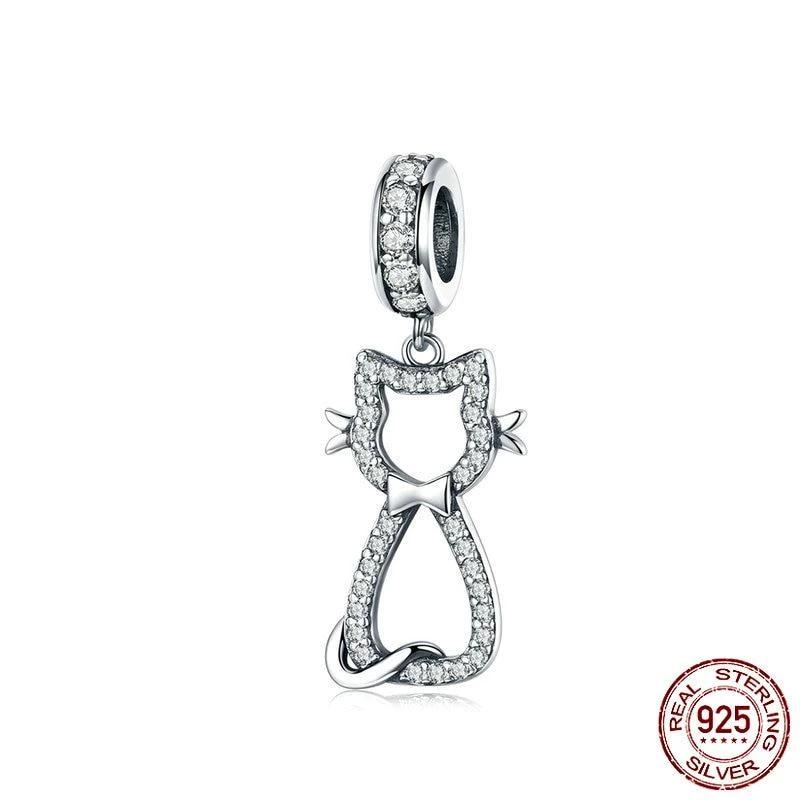 Happy Kitty dangle charm, 925 Sterling Silver