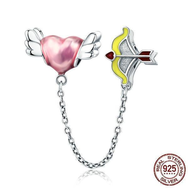 Cupid Arrow Love Heart Charm, Safety Chain, 925 Silver Enamel