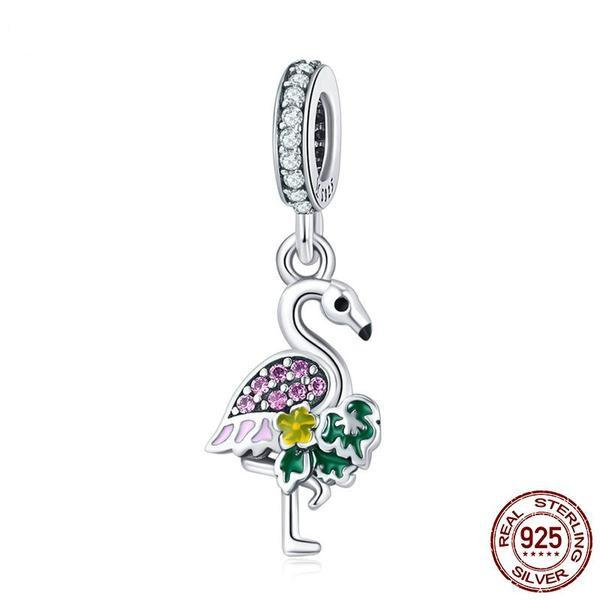 Colorful Flamingo Charm, 925 Silver, CZ, Enamel