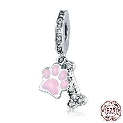 Animal Dog Footprint & Dog Bone, 925 Silver CZ, Pink Enamel