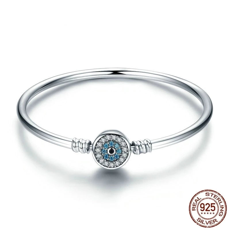 Blue Eye Bangle Bracelet, 925 Silver, CZ