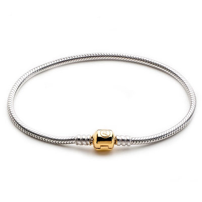 ATHENAIE 925 Sterling Silver Snake Chain Bracelet with 18k Gold Barrel Clasp