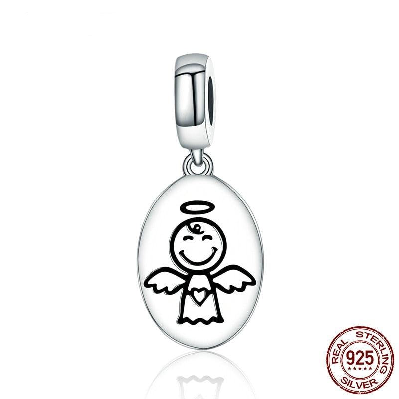 Guardian Angel Dangle Charm, 925 Silver