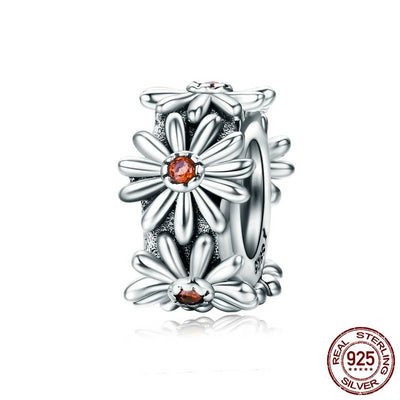 Romantic Daisy Spacer Stopper, 925 Silver, with Orange CZ