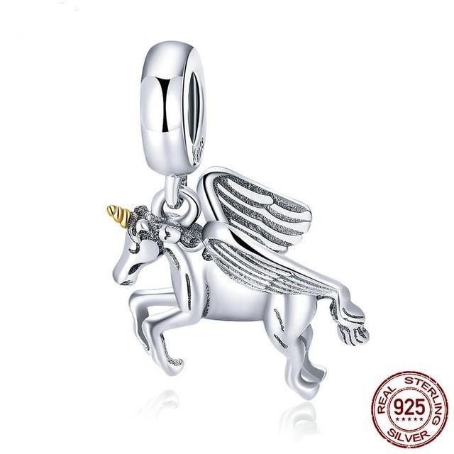 Free Spirit Unicorn Dangle Charm, 925 Silver