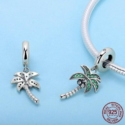 Palm Tree Dangle Charm, 925 Silver, CZ