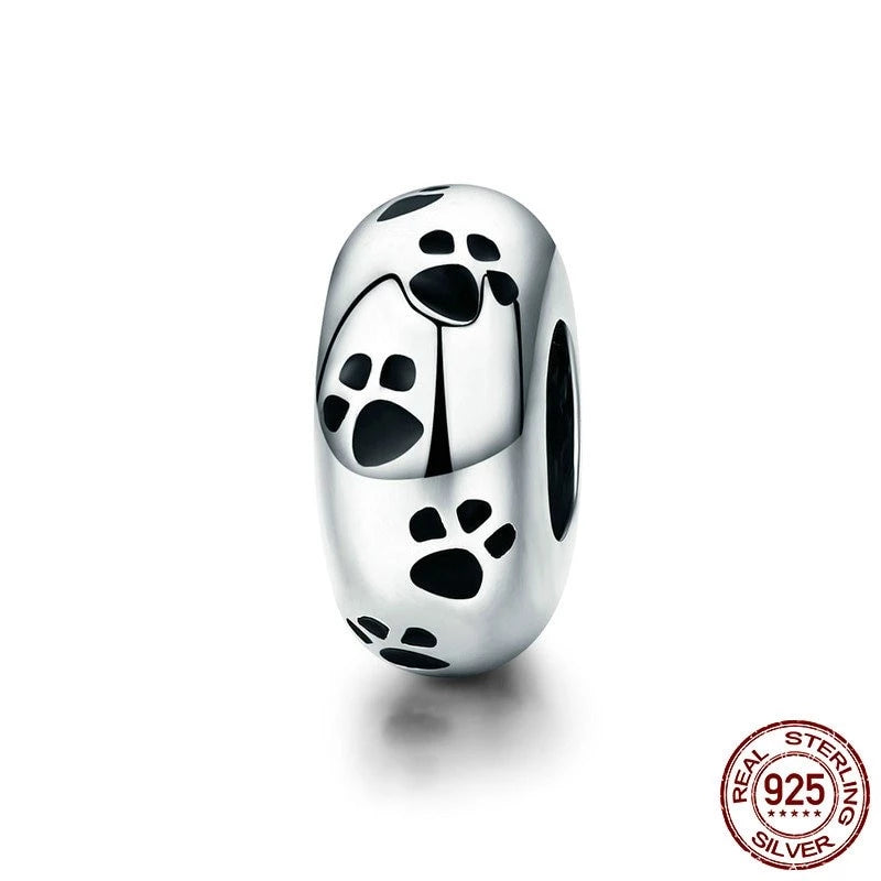 Pet Dog Footprint Spacer, 925 Silver, Black Enamel