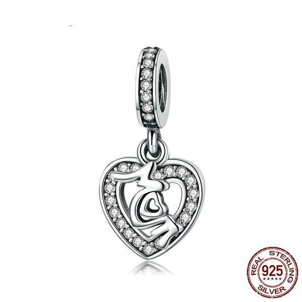 """MoM"" Heart Dangle Charm, 925 Silver, Clear CZ"
