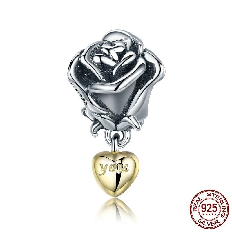 Romantic Silver Rose, Golden 'You' Heart Dangle Charm, 925 Silver