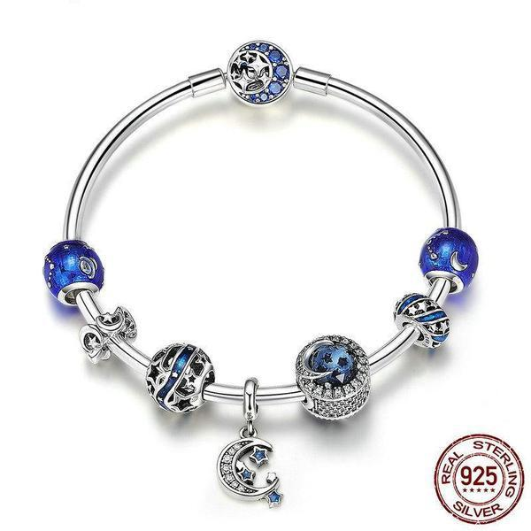 Moon & Stars Blue Sky theme, Bangle Charm Bracelet, 925 Silver, CZ