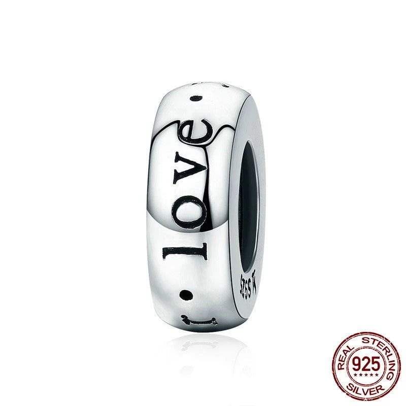 Forever Love Engraved Spacer Stopper, 925 Silver