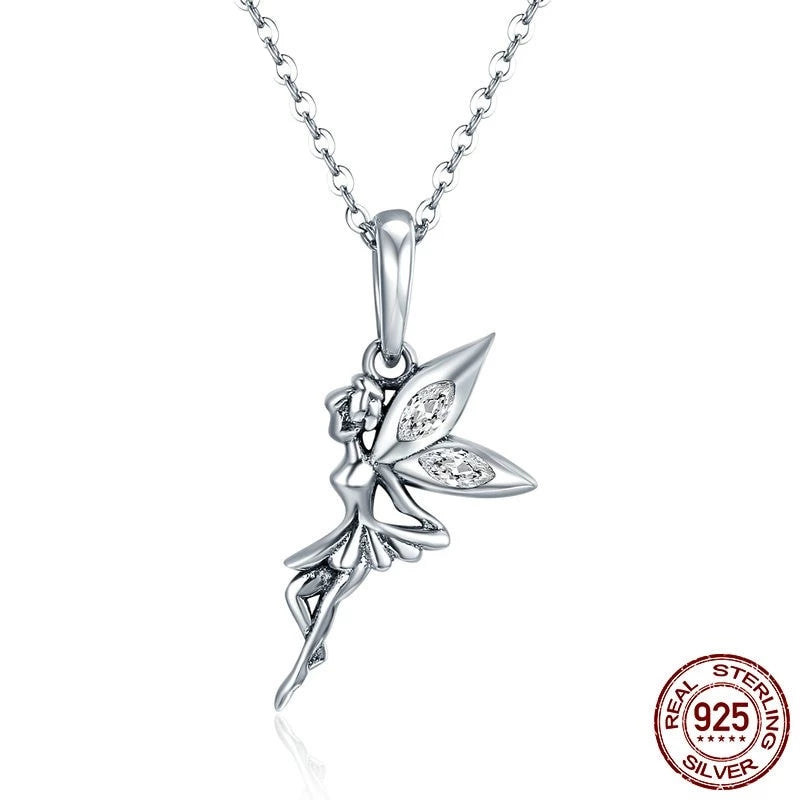 Flying Fairy Dangle Charm, 925 Silver, CZ