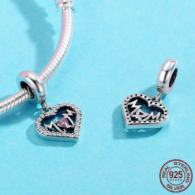 Sweet Heart MOM Dangle Charm, 925 Silver with CZ