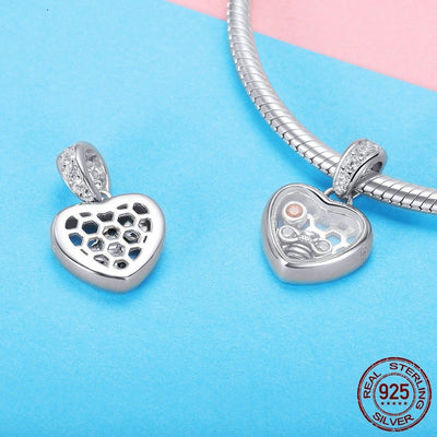 Sweet Heart Bee Dangle Charm, 925 Silver, CZ