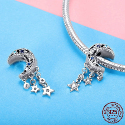 Shimmering Midnight Moon & Stars, 925 Silver with clear CZ