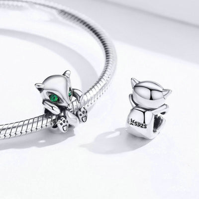 Cute Little Fox Bead Charms, 925 Silver