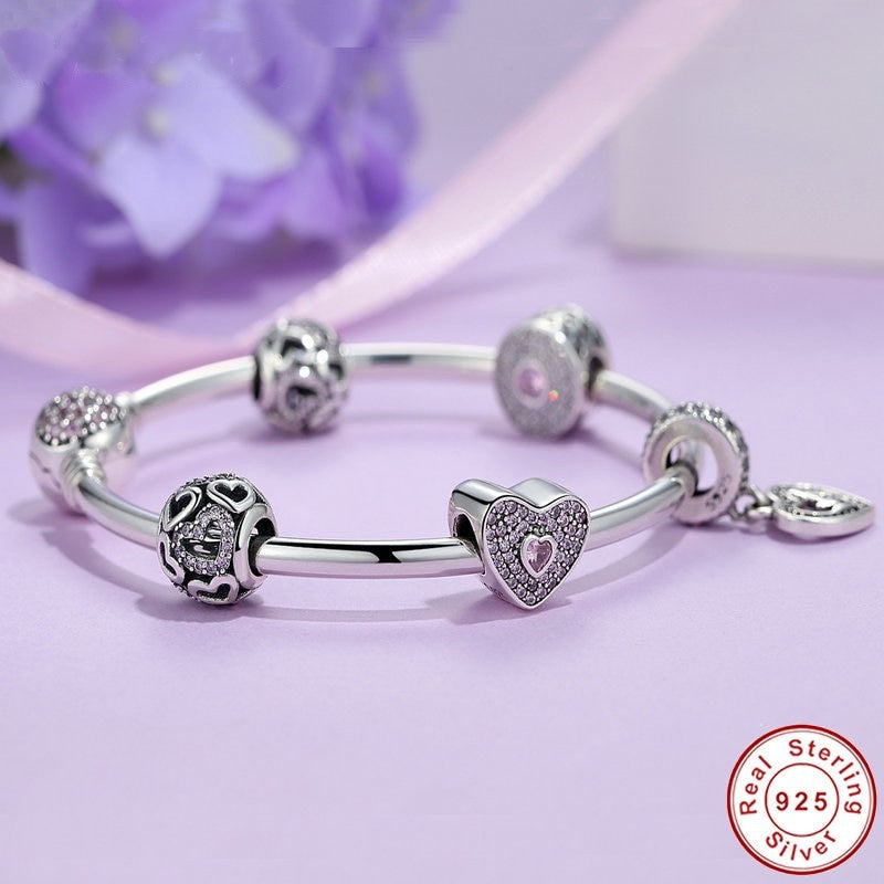 647e7287b Bangle, Mom Sweetheart Charmed Bracelet, 925 SS, CZ - Charmify