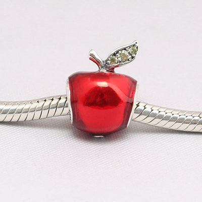 Snow White's Apple charm, 925 Silver with CZ, and red enamel