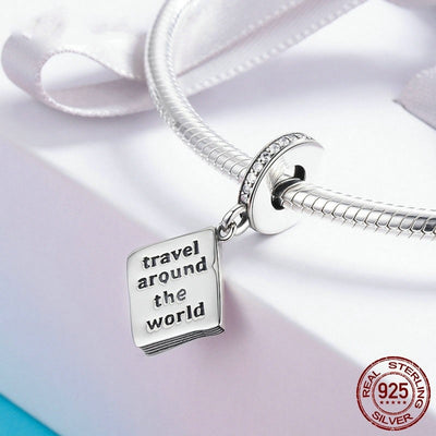 Passport Travel The World Dangle Charm, 925 Silver, CZ