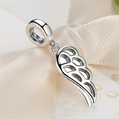 Angel Feather Wing Dangle Charm, 925 Silver