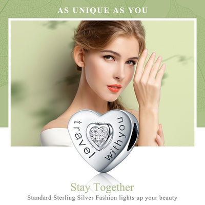 Travel with You Heart Beads Charm, 925 Silver, CZ